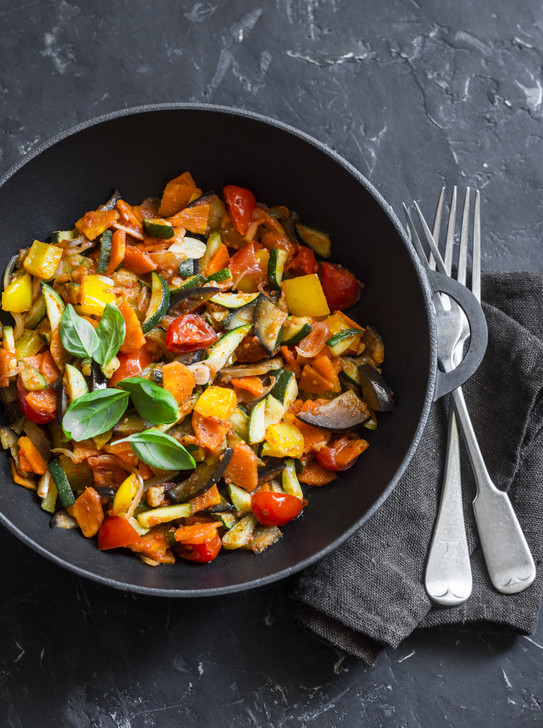 Ratatouille with caper berries and squash blossom kit