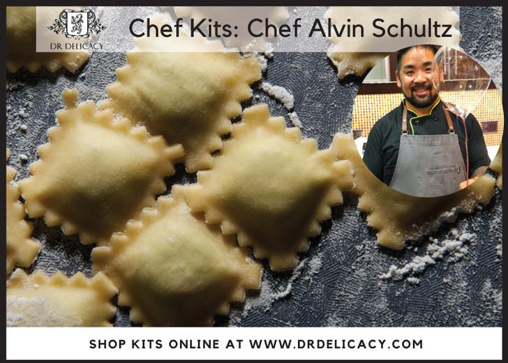 Chef Ravioli Kit -Corn & Caramelized Onion Ravioli with Creme Fraiche & Caviar  By Chef Alvin Schultz