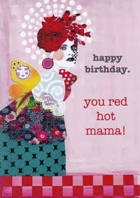 red hot mama greeting card, blank inside