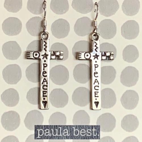 paula best white bronze peace cross earrings