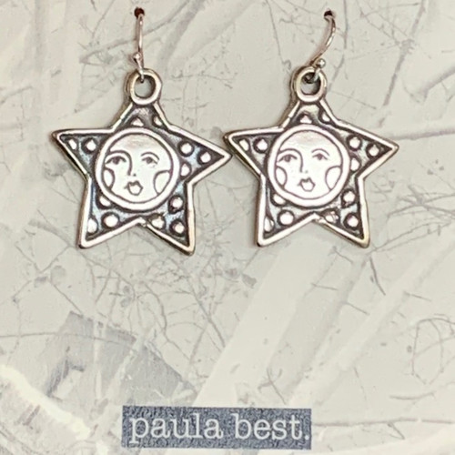 paula best white bronze star face earrings