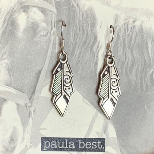 paula best white bronze feather earrings