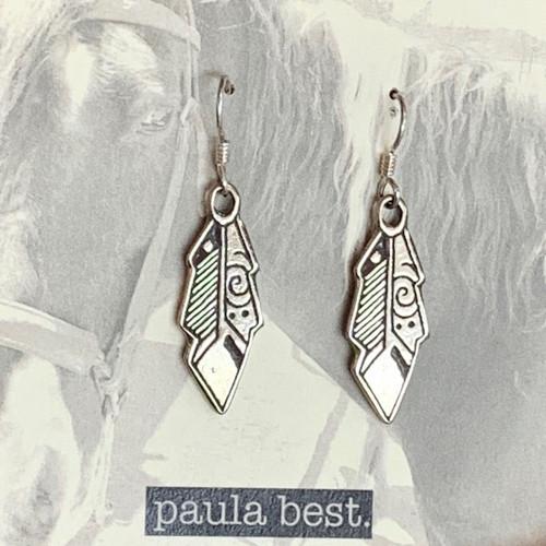 paula best white bronze feather earrings