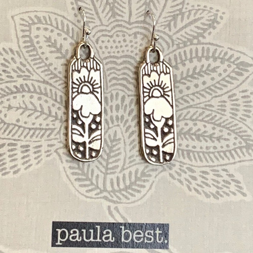 paula best white bronze iris earrings