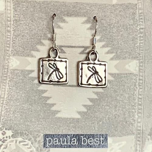 paula best white bronze tiny dragonfly earrings