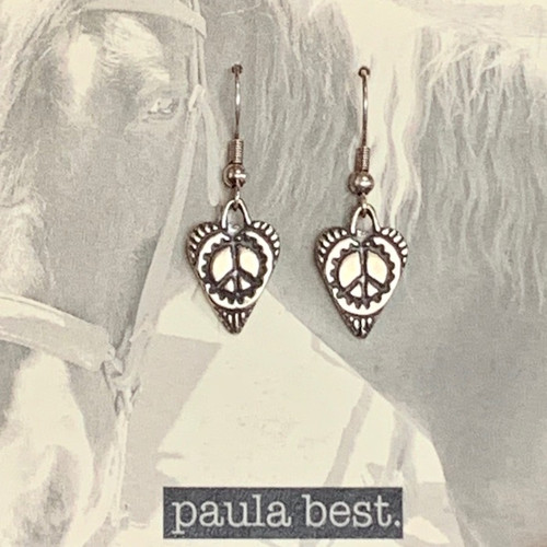 paula best white bronze peace heart earrings