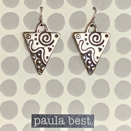 paula best white bronze design triangle earrings