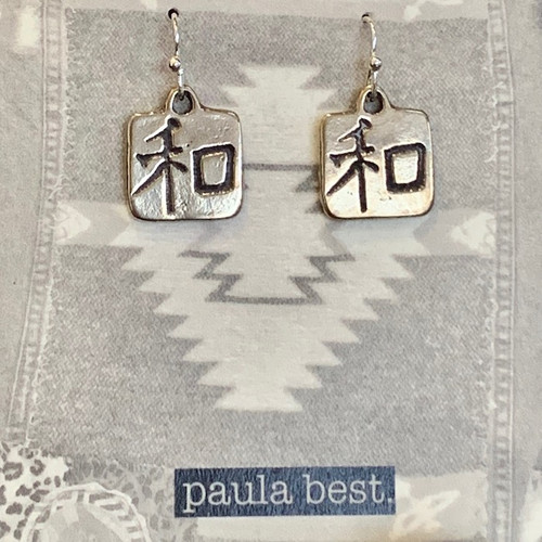 white bronze japanese peace earrings
