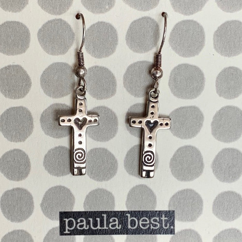 paula best white bronze heart cross earrings
