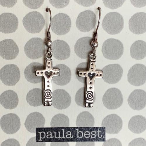 paula best white bronze heart cross earrings