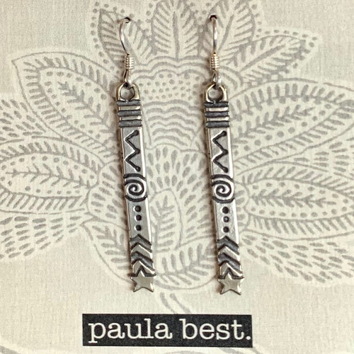 paula best white bronze design stick earrings