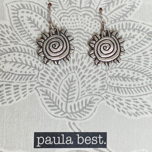 paula best white bronze spiral flower earrings