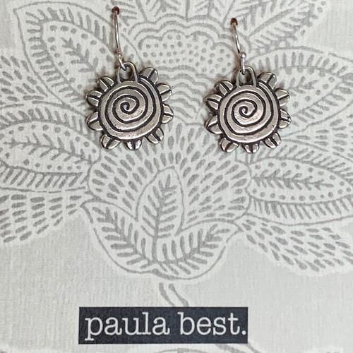 paula best white bronze spiral flower earrings