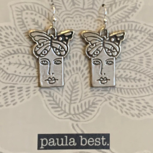 white bronze butterfly face earrings