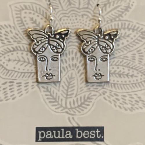 white bronze butterfly face earrings