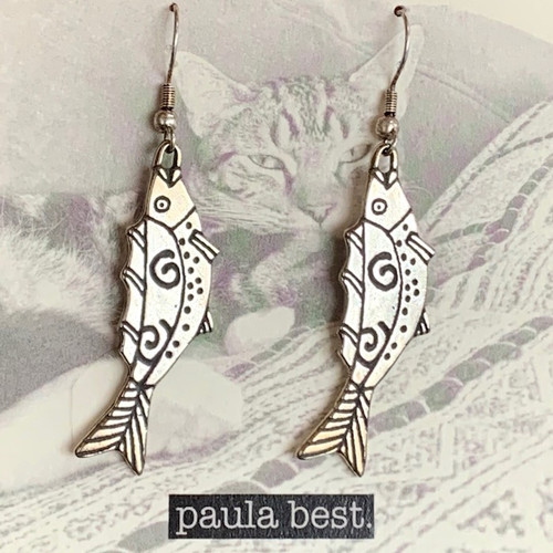 paula best white bronze swirl fish earrings