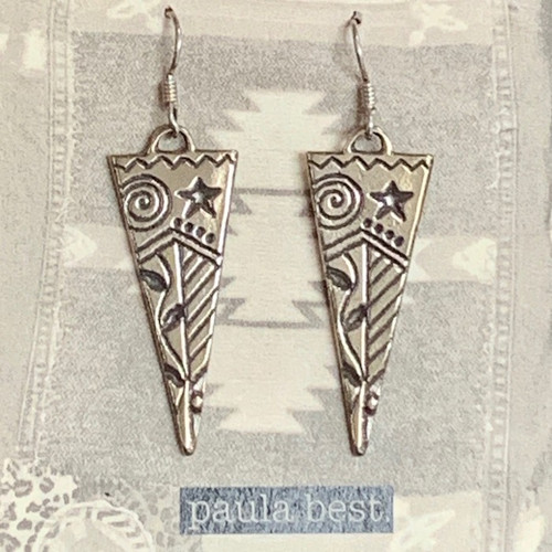 paula best white bronze large triangle earrings