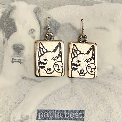 white bronze up eared dog earrings