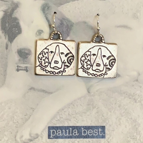 white bronze down eared dog earrings