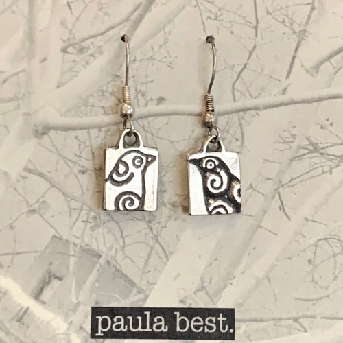 white bronze bird earrings