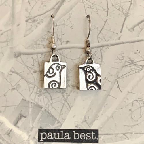 white bronze bird earrings