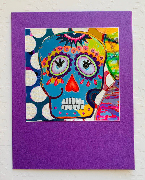 Notecard Blue Sugar Skull