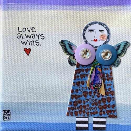Love always wins  4 x 4 canvas