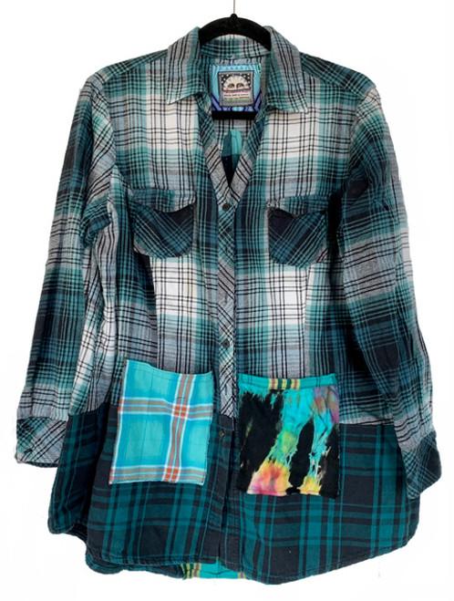 Teal & Black Tie Dye pocket front
