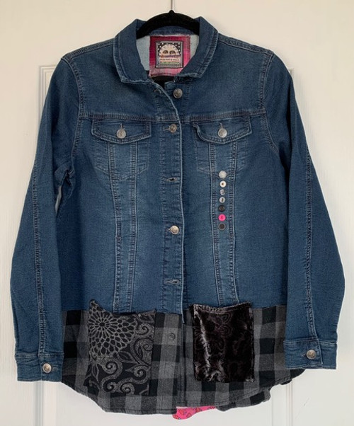 Pink & Black Embroidered Denim Jacket front