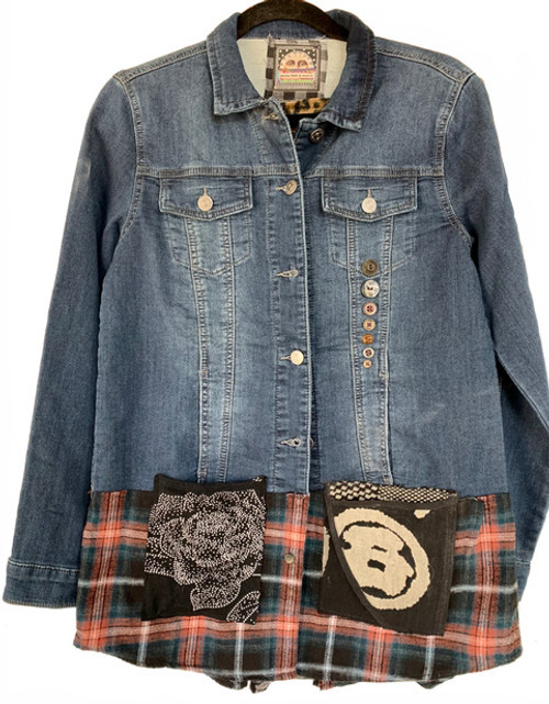 Denim Leopard Jacket front