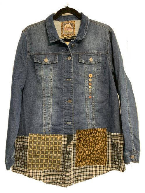 Cream and Denim Leopard Jacket front