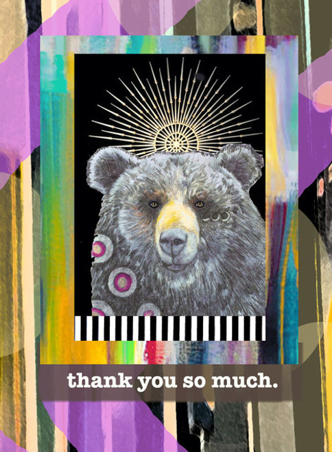 pb1802  thank you bear, greeting card, blank inside