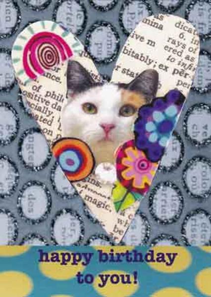 happy birthday cat greeting card, blank inside