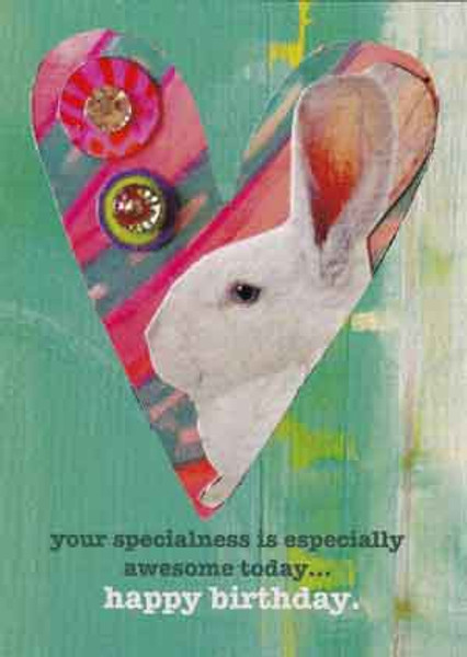special bunny heart greeting card, blank inside