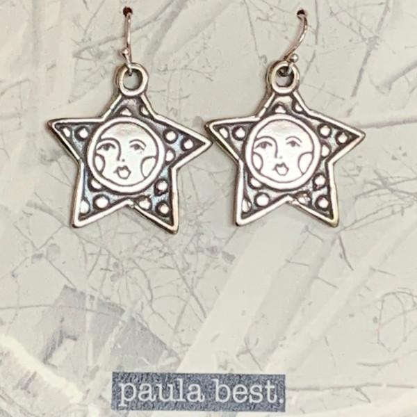paula best white bronze star face earrings