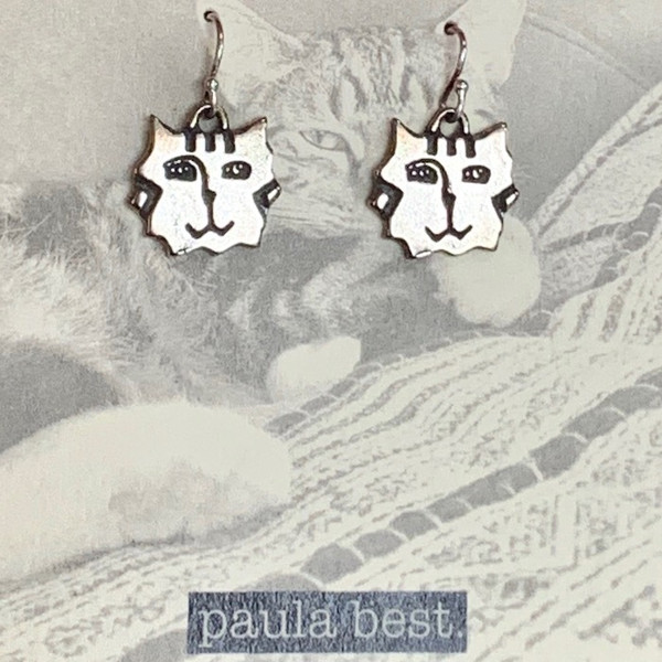 paula best white bronze tiger cat earrings