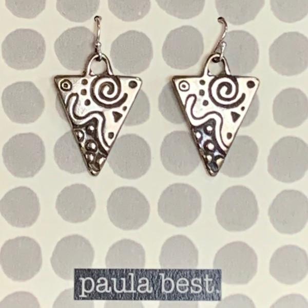 paula best white bronze design triangle earrings