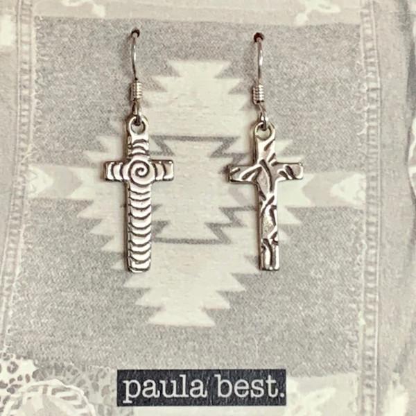 white bronze dragonfly, swirl cross earrings