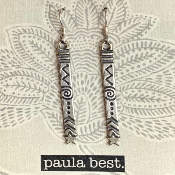 paula best white bronze design stick earrings