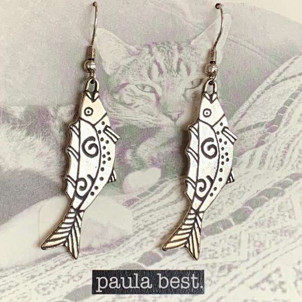 paula best white bronze swirl fish earrings