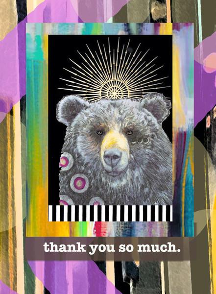 pb1802  thank you bear, greeting card, blank inside