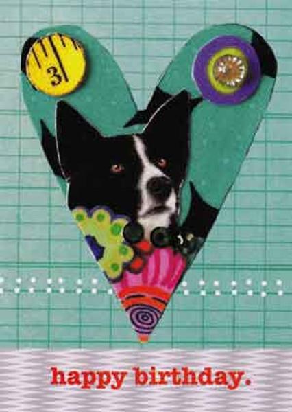 happy birthday dog greeting card, blank inside