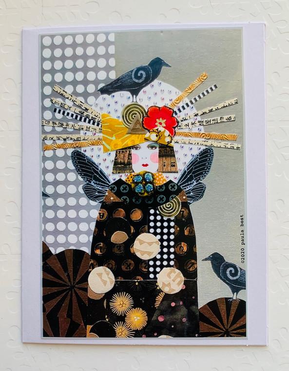 Notecard Raven on Hat