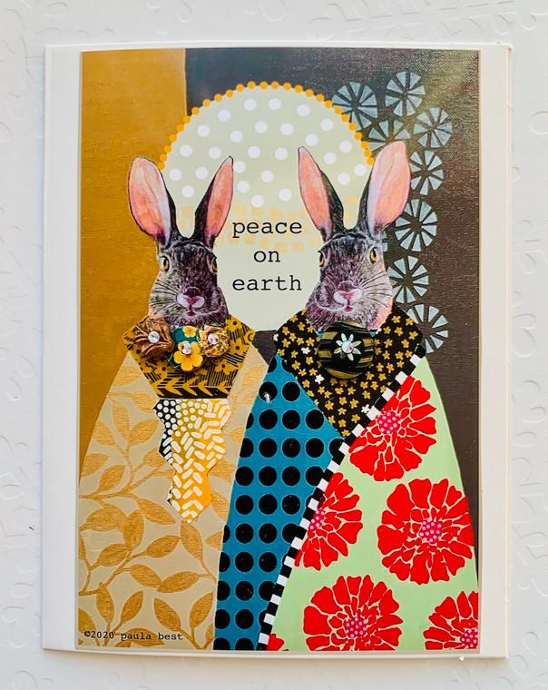Notecard Peace on Earth Bunnies
