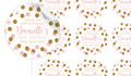 Pink Gold Confetti Baby Shower Personalised 65mm Labels