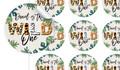 Wild One Birthday Large 65mm Custom Stickers - Set Of 12 - Australia's #1 Kids Party Supplies