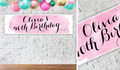 A Splash Of Watercolour In Pink Personalised Birthday Party Banner