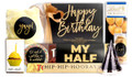 Actual contents of Black And Gold Birthday Personalised Chocolate Hamper