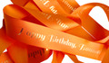 Orange With Gold Text Personalised Ribbon (38mm x 2m)