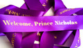 Purple With Gold Text Personalised Ribbon (38mm x 2m)